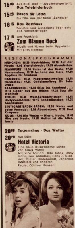 TV-Programm für den 13. Oktober 1962. Ausschnitt aus der Bravo.